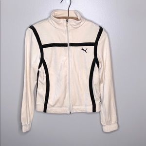 Puma Cream And Black Track Suit Zip Up Jacket